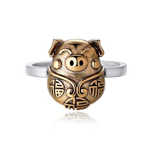 NofadeSilver Vintage Rings 925 Sterling Silver & Brass Oxidized Ring Open Adjustable Fashion Cute Pig Ring for Women Men