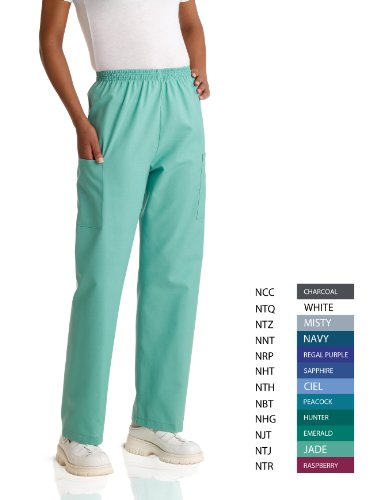 Price comparison product image Medline AngelStat Unisex Elastic Waist Cargo Scrub Pant, Long, Medium, Sapphire