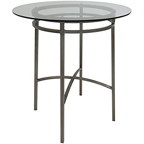 Impacterra Wilshire Bar Table Bar Height Rustic Silver Clear Glass