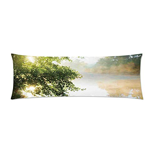 C COABALLA Art Comfortable Rectangular Pillowcase,Fishing Pier by River in The Morning Light with Clouds and Trees Nature Image Decor Decorative for Home,One Side Print 36