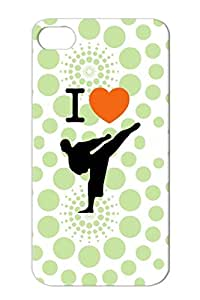 Kick I Love Karate Martial Arts Sports High Heart Bronze For Iphone 4s I With A Case