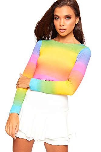 WearAll Women's Rainbow Multi Printed Long Sleeve Cropped Top T-Shirt Stretch - Multi - US 4-6 (UK 8-10)