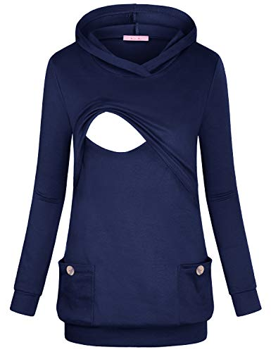 JOYMOM Nursing Tops Long Sleeve,Maternity Clothes with Hoody Womens Double Layers Side Pockets Banded Bottom Breastfeeding Pullover Sweatshirt Blue Large