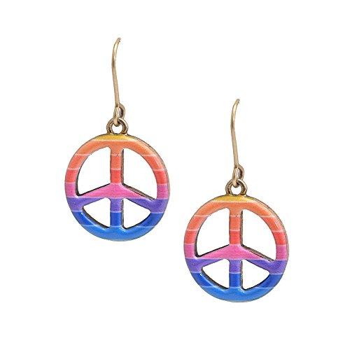 Spinningdaisy Folk Art Colorful Peace Sign earrings Blue Pink