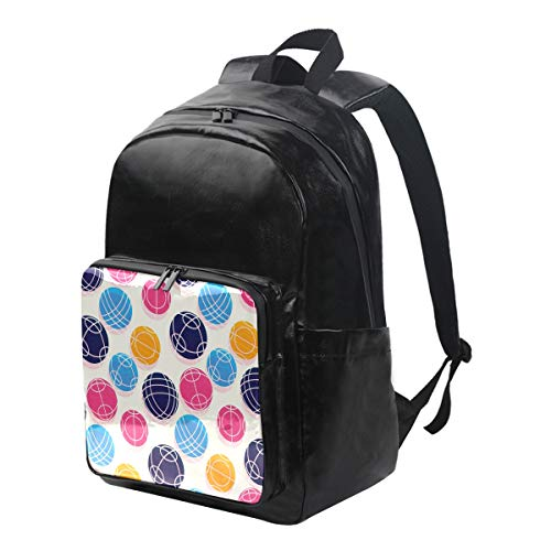 Bocce Ball Laptop School Backpack Men Women Water-Resistant Durable Casual Daypack for Work College Bookbag