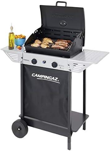 Campingaz Barbecue à Gaz Xpert 100 L Plus Rocky, Barbecue Compact 2 Brûleurs, Puissance 7.1kW, Grille en Acier, 2 Tablettes Latérales et Chariot en Acier