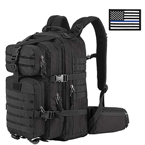 SHARKMOUTH Military Tactical Backpack 3 Day Small Assault Pack MOLLE Bag Rucksack Survival Outdoor School Daypack for Camping Hiking Hunting Climbing Travel Trekking 33L, USA Flag Patch, Black