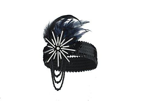 CONIFERA Headband Flapper Accessories with Black and Navy Ostrich Feather for Women Girls Elastic (Flapper Deluxe Gold & Black Headband)