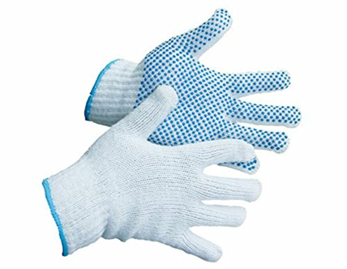 Safety Work Gloves 4 Pairs, LOT - 4 Pairs Per Package Work, Gardening, Gloves with PVC Dots for Hand Protection, Classic Knitted, - Mechanic, Construction, Industry, Garden use, Bulk, Set