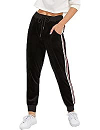 Women's Drawstring Waist Striped Side Jogger Sweatpants...