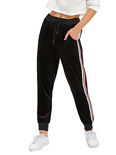 SweatyRocks Women's Drawstring Waist Striped Side Jogger Sweatpants with Pockets Black XXL (Pant Striped Workout)