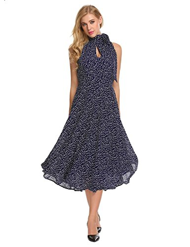 Neck Bifast Swing Line Neckline Key Blue A Dress Halter Fit Slim Women Hole Vintage Navy BYrzqpwAY