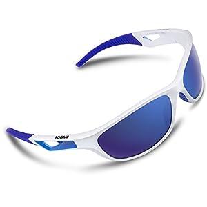 RIVBOS Polarized Sports Sunglasses Driving Sun Glasses for Men Women Tr 90 Unbreakable Frame for Cycling Baseball Running Rb831 (White&Blue Mirror Lens)