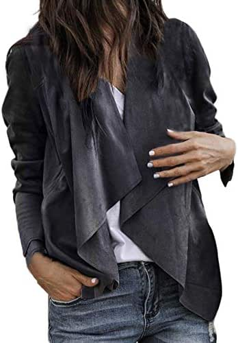 Overcoat for Women Casual Long Sleeve Leather Open Front Short Cardigan Suit Jacket Work Office Coat Outerwear