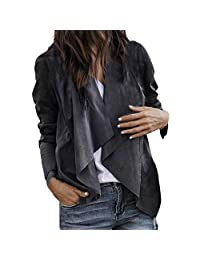 Open Front Cardigan,Vanvler Leather Jacket Women Short Coat Long Sleeve Lapel Office Suits Work