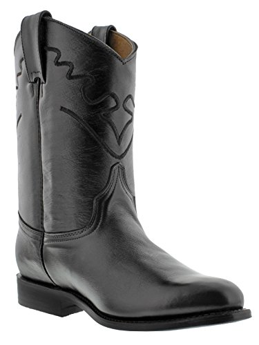 s Black Embroidered Design Smooth Leather Cowboy Boots Roper 13 E (Smooth Mens Roper)