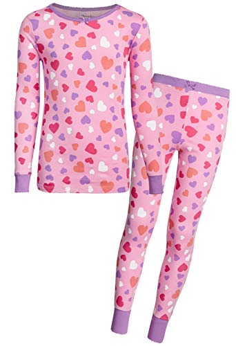 - Heartstrings Girls' 2-Piece Snug Fit Pant Pajama Set with Long Sleeve Top, Pink Heart, Size 14/16'