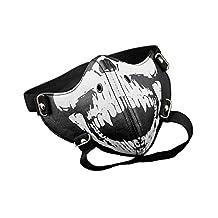 Skull Teeth Steampunk Biker Mask Masquerade Leather Black Costume Men Gothic