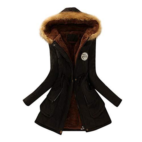 Balakie 2019 Womens Warm Slim Jacket Thick Parka Overcoat Winter Outwear Hooded Zipper Coat (Black,S)