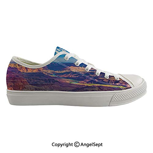 Durable Anti-Slip Sole Washable Canvas Shoes 16.53inch Aerial View of Epic Grand Canyon Activity of River Stream Over Rock Plateau Print,Blue Tan Flexible and Soft Nice Gift