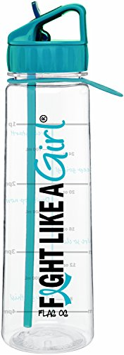 Ovarian Cancer Support (Fight Like a Girl Slimkim II Water Sports Workout Bottle Motivational Time Marker With Measurement Goals (Teal))