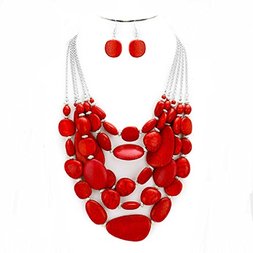 S.Uniklook Collection Chunky Statement Strands Coral Red Stone Bubble Beaded Necklace Earrings Jewelry Set For (Red Coral Necklace Earrings)