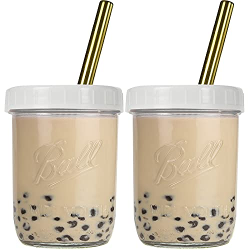 Bedoo Bubble Tea Cups 2 pack, Reusable Wide Mouth Smoothie Cups, Iced Coffee Cups With White Lids and Gold Straws Ball…