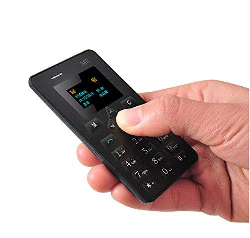 Ocamo Cell Phone, AIEK M5 Thin Bar Mini Pocket Mobile Cell Phone Card Alarm Clock 128M GSM For Kids