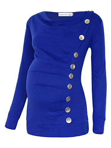 Women's Long Sleeve Cowl Neck Buttons Maternity Nursing Shirt Top