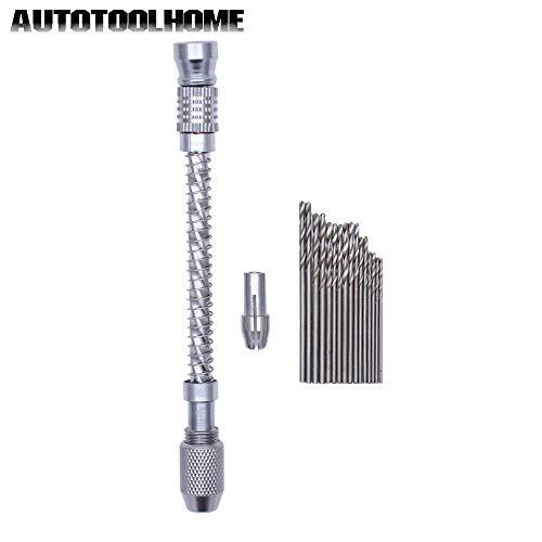 16pc Hss Mini Micro Twist Drill Bits Set 0.8mm-1.5mm Semi-Automatic Mini Pin Vise Hobby Craft Jewelry Wood Manual Hand Drill