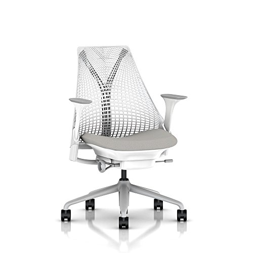 Herman Miller Sayl Task Chair: Tilt Limiter - Stationary Seat Depth - Stationary Arms - Standard Carpet Casters - Fog Base/Studio White Frame
