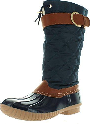 Nyvip Ny Vip Kvinnor Tall Duc Boot (12 Inches) Regn Och Snö Stövel Med Sherpa Foder Och Vadderad Duk Övre Navy-cognac