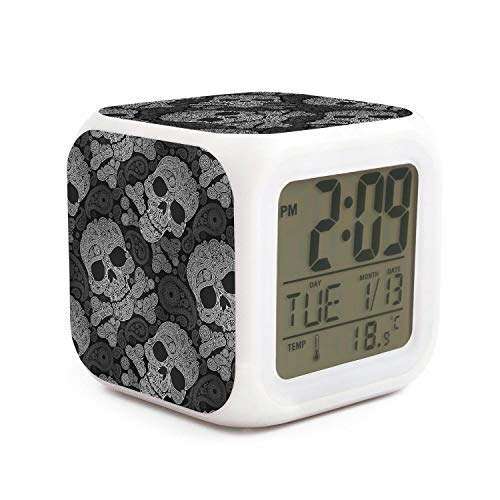 - seuiop Skull and Crossbones Paisley Black Alarm Clock Travel 7 Color Night Light Sleep Timer Night Glowing Cube Fit Birthday Gifts for Kids