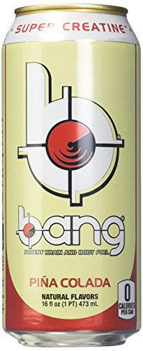 Bang Energy Drink with Zero Calories & High Caffeine, Pina Colada – 12 Drinks – VPX (Vital Pharmaceuticals)