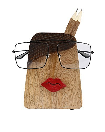Spectacle Holder Wooden Eyeglass Stand Lips Design handmade Display Optical Glasses Accessories with Pen Pencil Stand