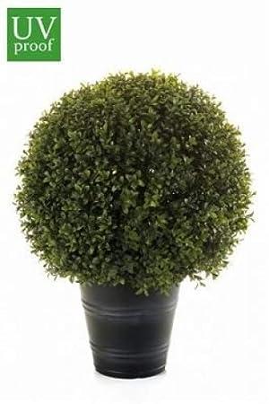 artplants Künstliche Buchskugel/Buchsbaum Tom getopft, uv-behandelt, 55 cm, Ø 40 cm - Kunst Buchsbaumkugel mit UV Schutz