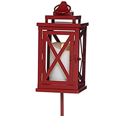 "Luminara Lexington 10"" Lantern with Candle, Remote and Stake"