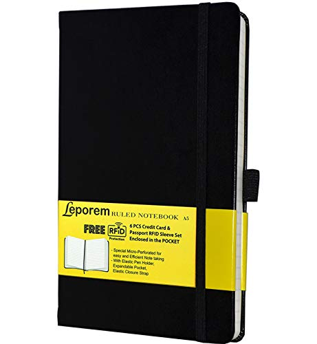 Business Notebook - Lined Notebook, Premium Hardcover Ruled Notebook Daily W/FREE 6 RF Blocking Sleeve, Lined Journal with Pen Loop, Pocket, Band, Ribbon&Thick Paper, A5 Bound Classic College Notebook