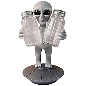 Extra Terrestrial Alien UFO Outer Space Colony Salt Pepper Shaker Holder Figurine Stand For Kitchen Hosting Cook Hobbyist