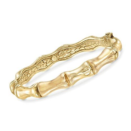 Ross-Simons Italian 18kt Yellow Gold Over Sterling Silver Bamboo Bangle Bracelet (Silver Bracelet Bamboo Bangle)
