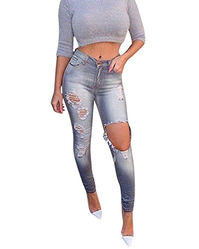 Lunghi Trousers Jeans Donna Elastico Pantaloni Denim Vita Strappati Skinny Casuale Come Immagine Fit Alta Slim BqwvTv5