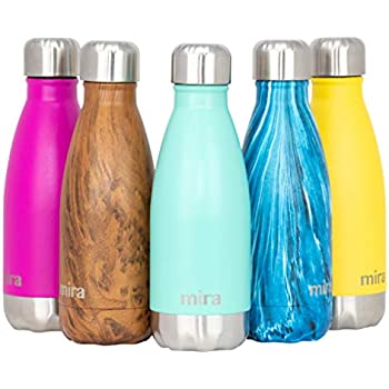 MIRA 12 oz Stainless Steel Vacuum Insulated Water Bottle | Double Walled Cola Shape Thermos | Keeps 24 Hours Cold, 12 Hours Hot | Reusable Metal Water Bottle | Kids Leak-Proof Sports Flask | Teal