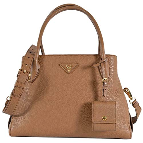 Prada 1BA127 Vitello Daino Leather Center Zip 2-Way Handbag Purse Bag Beige/Brown