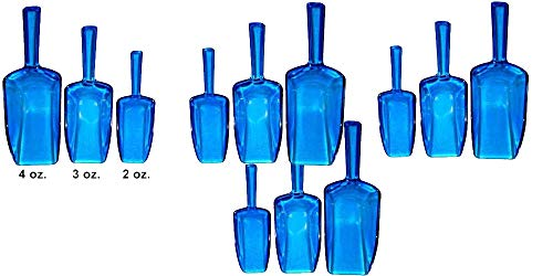 - Clear Blue Acrylic Plastic Kitchen Scoops for Wedding, Candy, Powders, Ice Cream, Sugar, Tea, Set of 3 Sizes, 12 Count
