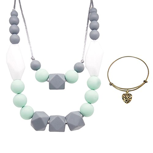 Nursing Teething Beads necklace forMother's Day gift Mom,100% BPA Free,Wire Bangle Bracelet ()