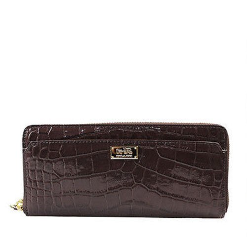 COACH Madison Leather Embossed Croc Accordion Zip Wallet in Gold / Midnight Oak 49976 by Coach
