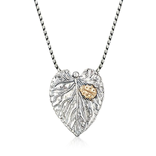 Ross-Simons Sterling Silver Leaf Pendant Necklace With 14kt Yellow Gold Ladybug]()