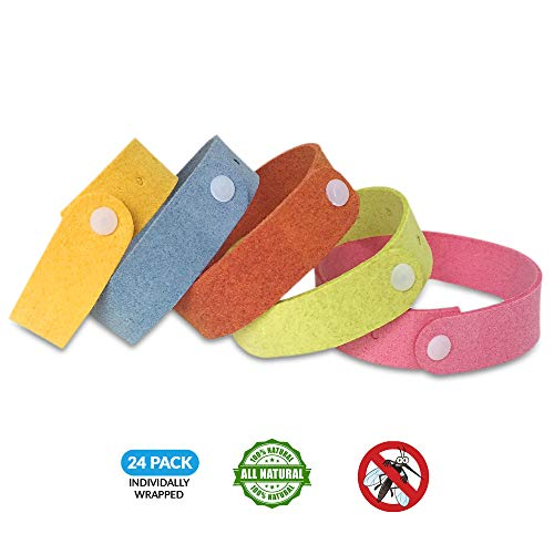 Lovejoy Mosquito Repellent Bands/Bracelets (24 Individually Packed Bracelets) Repels Insects.Waterproof Travel Size.Made with All Natural Plant Based Ingredients -Citronella, Geraniol, Lemongrass