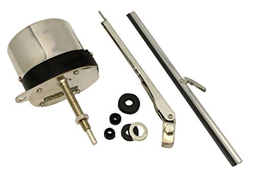 Pirate Mfg 12V Stainless Windshield Wiper Motor Kit, Compatible with Street Rat Rod Chevy