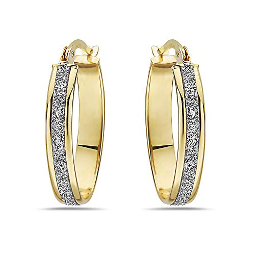 - Two Tone 10K Solid Gold Oval Hoop Earrings With White Glitter - For Women and Girls - French Lock - Fine Jewelry